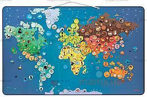 Карта мира с животными магнитная, 201 магнит, J02889, фото