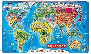 Карта мира с пазлами, 92 магнита, J05504