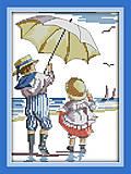 Картина «Дети на море» в наборе с нитками, K208, фото