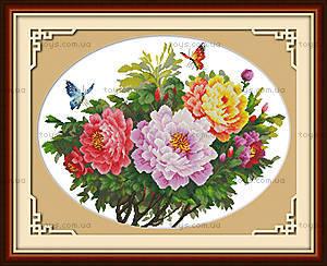 Картина для вышивки «Бабочки и пионы», H223