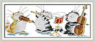 Картина «Кошачье трио» для вышивки нитками, K570, фото