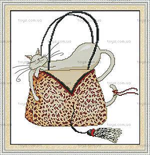 Картина «Кошка в сумке», вышивка крестиком, K485