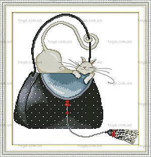 Картина «Кошка в сумке», вышивка рукоделие, K486