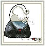 Картина «Кошка в сумке», вышивка рукоделие, K486, фото