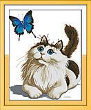 Картина «Кот и бабочка» для вышивки мулине, D370, фото