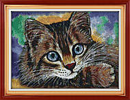 Картина «Котенок» с нитками мулине, D176, фото