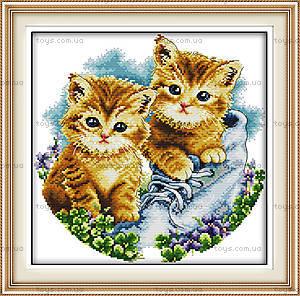 Картина «Котята в ботинке» для вышивки, D187