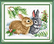 Картина «Крольчата» для вышивки нитками, D091