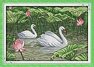 Картина «Лебединое озеро», вышивка крестиком, D395, фото