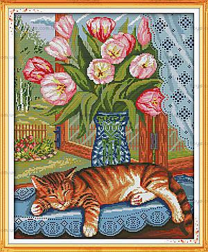 Картина «Ленивый кот», вышивка крестиком, D369