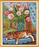 Картина «Ленивый кот», вышивка крестиком, D369, купить