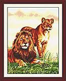 Картина «Львиная семья», набор для вышивки, D040, фото