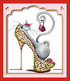 Картина «Модная кошка», вышивка мулине, J044(1)