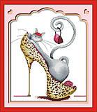 Картина «Модная кошка», вышивка мулине, J044(1), фото