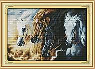 Картина «Непокорные кони», вышивка нитками, D140, купить