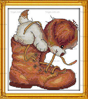 Картина «Песик в ботинке» для вышивки, K473