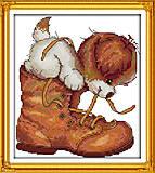 Картина «Песик в ботинке» для вышивки, K473, фото