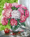 """Картина по номерам + Алмазная мозаика """"Бело-розовые пионы"""" ★★★★, GZS1012, опт"""