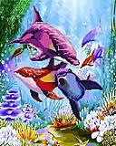 """Картина по номерам + Алмазная мозаика """"Дельфины"""" ★★★★, GZS1024, доставка"""