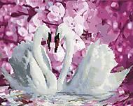 "Картина по номерам + Алмазная мозаика ""Два лебедя"" ★★★★, GZS1071, фото"