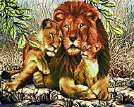 """Картина по номерам + Алмазная мозаика """"Львиное семейство"""" ★★★★, GZS1031, игрушка"""