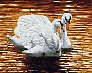 "Картина по номерам + Алмазная мозаика ""Пара лебедей"" ★★★★, GZS1112, детские игрушки"