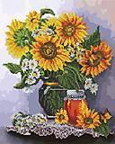 """Картина по номерам + Алмазная мозаика """"Подсолнухи и мед"""" ★★★★, GZS1108, фото"""