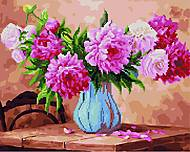 """Картина по номерам + Алмазная мозаика """"Пионы в голубой вазе"""" ★★★★, GZS1019, купити"""