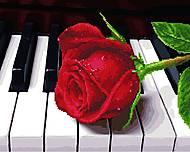 """Картина по номерам + Алмазная мозаика """"Роза на пианино"""" ★★★★, GZS1018, Украина"""