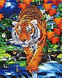"""Картина по номерам + Алмазная мозаика """"Тигр у реки"""" ★★★★, GZS1098, игрушки"""