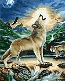 "Картина по номерам + Алмазная мозаика ""Волк при луне"" ★★★★, GZS1095, детские игрушки"