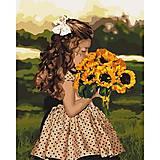Картина по номерам «Девочка с подсолнухами» ★★★★, КНО4662