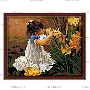 Картина по номерам «Девочка, собирающая букет», КН030