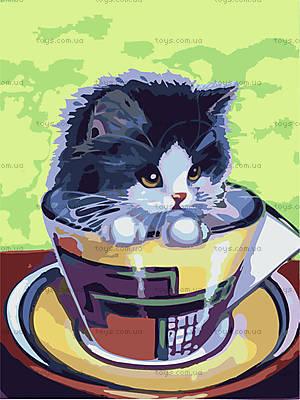 Картина по номерам «Котенок в чашке», КНО2451
