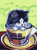 Картина по номерам «Котенок в чашке», КНО2451, отзывы