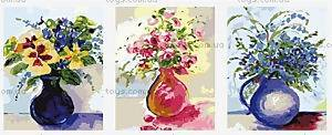 Картина по номерам «Три букета в круглых вазах», MX3005
