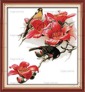 Картина «Птицы и цветы», канва, схема, нитки, D117