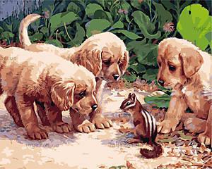 Картина «Щенки и бурундучок» для росписи, КН1132
