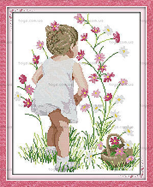 Картина «Собирая цветы», набор для вышивки, R505