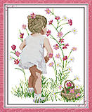 Картина «Собирая цветы», набор для вышивки, R505, фото