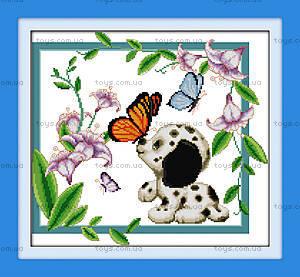 Картина «Веселый песик», вышивка крестиком, K048