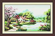 Картина «Весенний сад», вышивка крестиком, F058