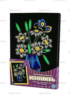 Картина - изонить «Цветы с бабочкой», IZN-01-01
