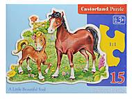 Пазл Castorland на 15 деталей «Лошадки», В-015023, отзывы
