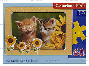 Пазл Castorland на 60 деталей «Котята с подсолнухами», 779, фото