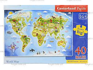 Пазл Castorland Maxi на 40 деталей «Карта мира», В-040117, отзывы