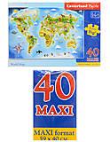 Пазл Castorland Maxi на 40 деталей «Карта мира», В-040117