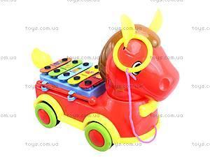 Каталка-ксилофон «Лошадка», FL098017W1/2, игрушки
