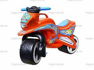 Детская каталка мотоцикл с каской, 11-007, фото