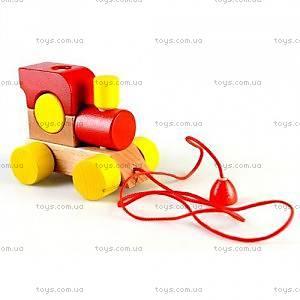 Детевянная каталка «Паровозик», красная, Ду-01ч
